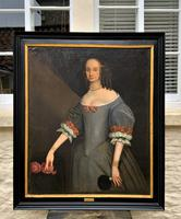 Huge Period Antique 3/4 Length Oil Portrait Painting of 17th Century Lady (11 of 13)