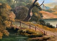 Large Stunning 19thc Arcadian Landscape Oil Painting in the 18th Century manner (9 of 13)