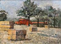 Lovely Original 20th Century Vintage Impressionist Harvest Haystack Landscape Painting (2 of 12)