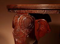 Anglo Indian Fine Carved Hardwood Round Side Elephant Table. 19th Century (5 of 12)