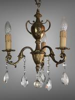 Gilt Bronze Chandelier 3 Arm Ceiling Light with Crystal Droplets (7 of 8)