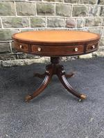 Mahogany Leather Top Drum Table
