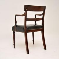 Regency Mahogany & Leather Armchair / Desk Chair (4 of 11)