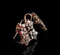 Antique Victorian Bohemian Garnet Flower Earrings, 9ct Gold (5 of 11)