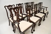 Set of 8 Antique Mahogany Chippendale Dining Chairs (7 of 14)