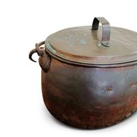 Large Antique Copper Couldron with Lid & Handle (3 of 7)
