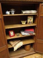 Antique Oak Linen Cupboard, Housekeepers Cupboard Larder with Shelves (9 of 16)