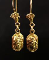 Vintage 18ct Gold Scarab Beetle Earrings, Dangly Earrings (2 of 10)