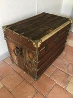 """19th Century French """"Louvre Paris"""" Vellum, Leather & Rattan Tarvelling Trunk with Tray 'like Louis Vuitton' (2 of 10)"""
