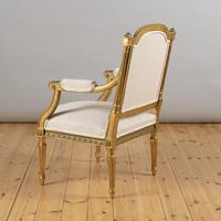 Pair of Large 19th Century Louis XV1 Style French Gilt Armchairs (9 of 10)