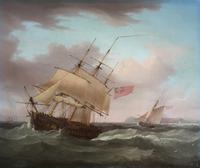 'an English Frigate in a Stiff Breeze'  An Oil Painting on Mahogany Panel Circa 1800  Signed Thomas Whitcombe C1752 - 1824 (2 of 5)