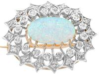 2.99 ct Opal and 0.96 ct Diamond, 9 ct Yellow Gold Brooch - Antique Victorian (8 of 9)