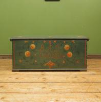 Antique Continental Painted Folk Art Coffer with Dome Top, Blanket Box (9 of 24)