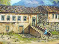 Large oil on canvas tropical sunshine view Brazilian artist Chediac (3 of 10)