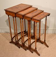 Sheraton Period Amboyna Inlaid Nest of Tables