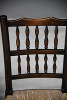 Pair Antique Oak & Rush Lancashire Chairs (11 of 11)