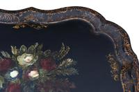 Victorian Tilt Top Decorated Black Lacquer Tray Top Coffee Table (8 of 11)