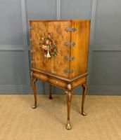 Floral Painted Burr Walnut Cabinet on Stand (11 of 15)