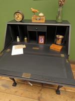 Vintage 1930s Black Writing Bureau Desk with Presentation Plaque, Lockable (22 of 22)