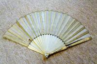 Rare Mid 18th Century French Watercolour with Sold Silver Pique Work Hand Fan (8 of 12)