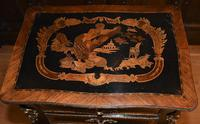 Striking 19th Century French Ebonised & Marquetry Side Table c.1880 (6 of 16)