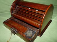 Compact Figured Oak Roll Top Stationery Box. c1900 (12 of 14)