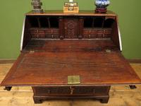 Antique Carved Oak Writing Bureau Desk with Fall Front, Handsome Gothic Piece (18 of 24)