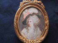 Miniature Portrait Duchess of Devonshire Ormolu Easel Backed Frame (2 of 4)