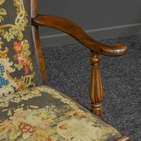 Victorian Carved Rosewood Armchair with Tapestry Upholstery (9 of 13)