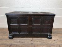 Antique Rare 17th Century Oak Coffer with Block Paw Feet (M-716)
