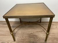 French Brass Square Leather Top Coffee Table (13 of 28)