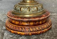 Superb Tall 19thc 'Matador' Brown Ceramic & Milky White Brass Table Oil Lamp (9 of 12)
