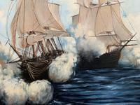 Large Fabulous Vintage 20th Century Maritime Naval Battle Ships Seascape Oil Painting (10 of 12)