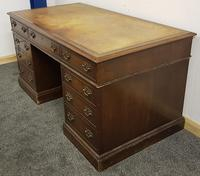 Late 19th / Early 20th Century Pedestal Desk with Leather Top (3 of 7)