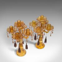 Pair of Antique Candelabra, English, Glass, Candle Stand, Victorian c.1890 (9 of 12)