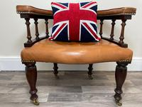 Charming Traditional Victorian Style Tan Brown Office Captains Bankers Chair (3 of 42)