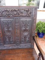 Country Oak Carved Settle Depicting Phoenix 1750 (6 of 13)