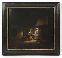 17th / 18th Century Dutch Oil on Oak Panel Old Lady Spinner Manner of Quirijn Van Brekelenkamp Interior Scene Portrait Painting (7 of 7)