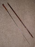 Victorian Hallmarked Repousse Silver 1896 Sword / Walking Cane W/Burr Root Top (2 of 13)