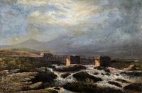 Original 19th Century Period Antique Scottish Highland Bridge Landscape Oil Painting (2 of 11)