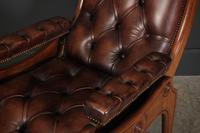 Rare Mahogany & Buttoned Brown Leather Reclining Chair (2 of 15)