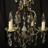 French Gilded 4 Light Cage Antique Chandelier (4 of 10)