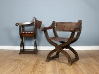 Pair of 20th Century Oak & Leather X-Frame Armchairs (3 of 7)