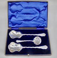 Cased Victorian  silver plated fruit serving set by Lee & Wigfull, Sheffield c.1900 (2 of 5)