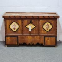 Rare Very Old Large Painted Pine Box
