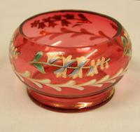 Late Victorian Cranberry Glass Decorated Salt (2 of 3)