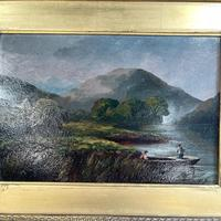 Antique Scottish Landscape Oil Painting of Punters on Loch by T Haywood c.1870 (4 of 10)