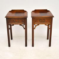 Pair of Antique Chippendale Style Mahogany Bedside Tables (2 of 12)
