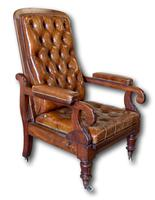 Victorian Mahogany Reclining Library Chair (2 of 7)