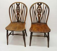 Near Pair of Victorian Windsor Wheel Back Kitchen Chairs in Beech & Elm (4 of 12)